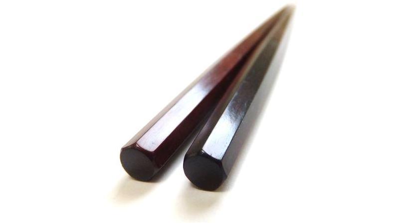 画像1: 紅木紫檀 七角利久箸