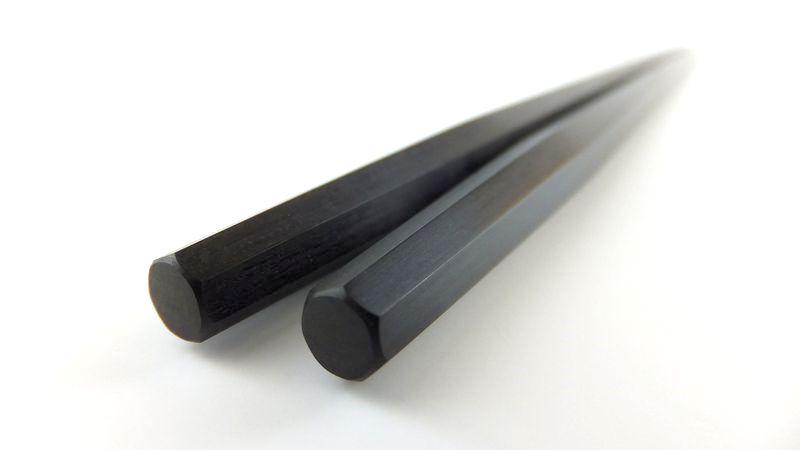 画像1: 青黒檀 七角利久箸 磨き仕上げ